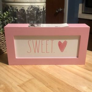 NWT pink Rae Dunn SWEET box sign/plaque